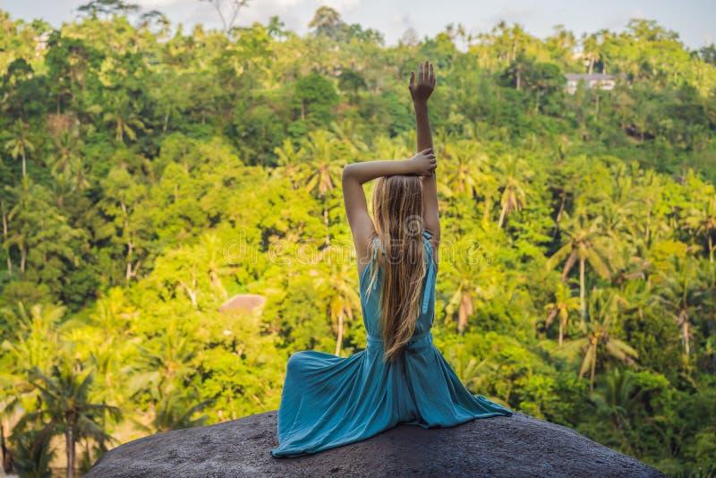 年轻女人实践的瑜伽或pilates在日落或日出在美好的山地点 库存照片