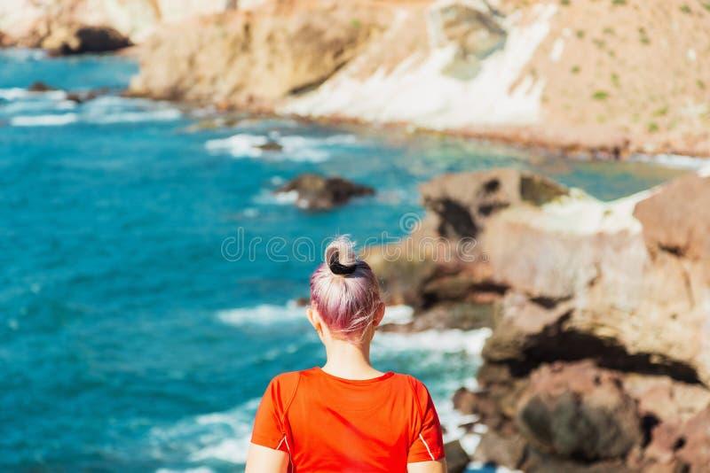 年轻女人或女孩看看从岩石的海 免版税库存图片