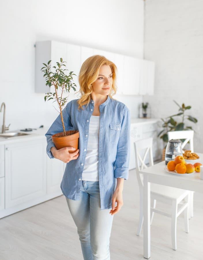 年轻女人拿着在一个罐的一朵花在厨房 免版税库存图片