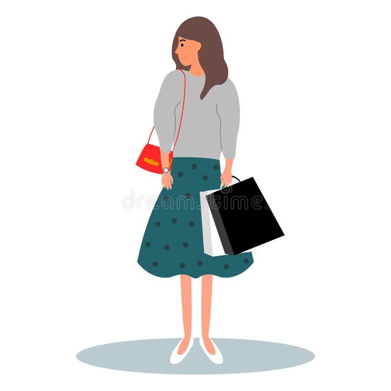 ?? 年轻女人拿着很多袋子 回来从有包裹的商店的夫人 在白色背景的传染媒介例证 库存例证