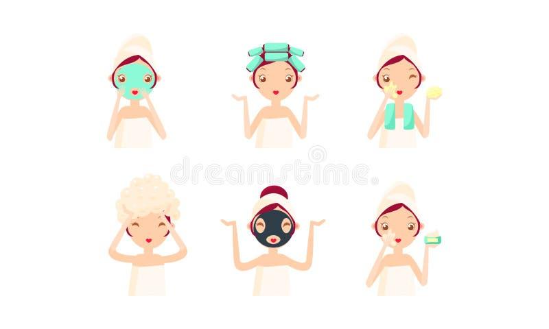 年轻女人清洁和关心她的面孔和头发集合,面部治疗,卫生学,传染媒介例证 向量例证