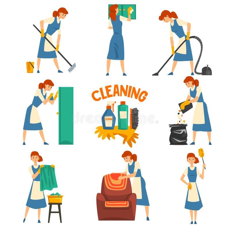 年轻女人清洁和洗涤物集合、清洁女工字符佩带的制服有蓝色礼服的和白色围裙,清洗 向量例证