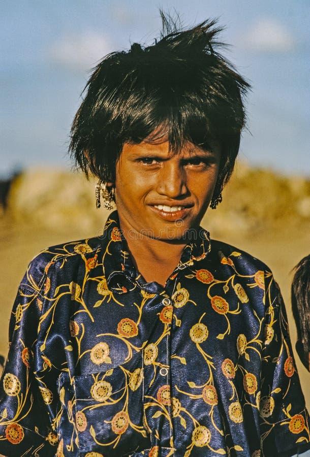 年轻女人画象在比卡内尔,印度 图库摄影
