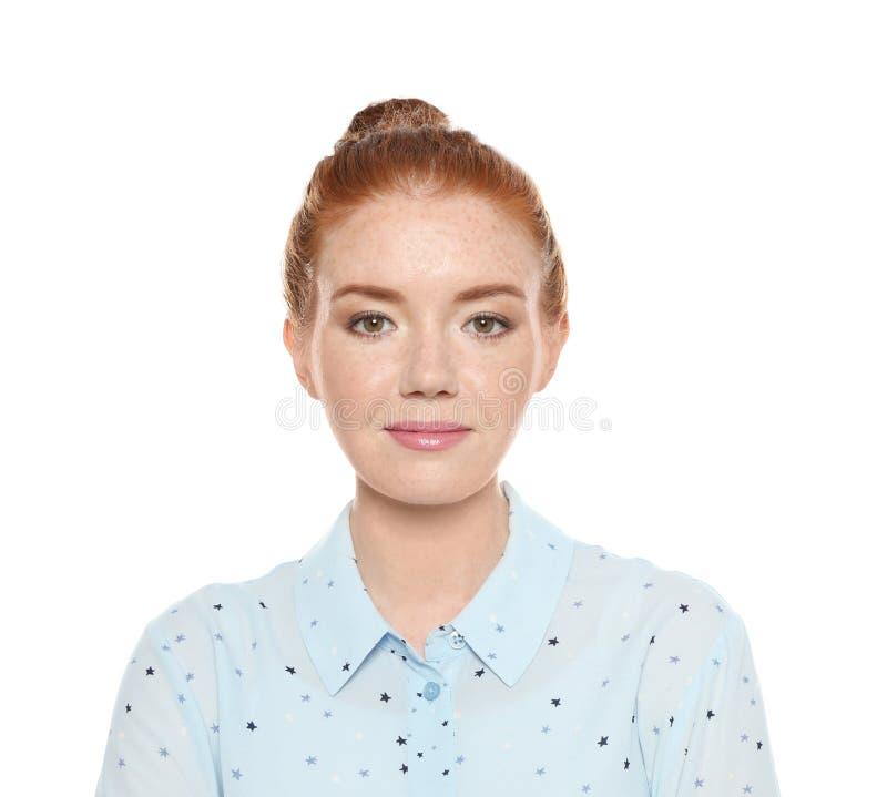 年轻女人画象有脸蛋漂亮的 免版税库存图片