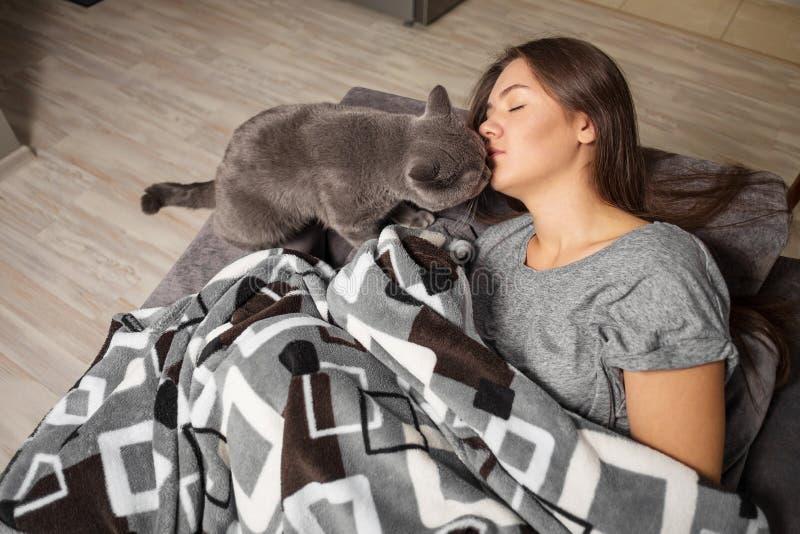 年轻女人睡觉与她滑稽的猫的,英国狭窄小道女孩,当她睡觉时,猫舔女孩 图库摄影