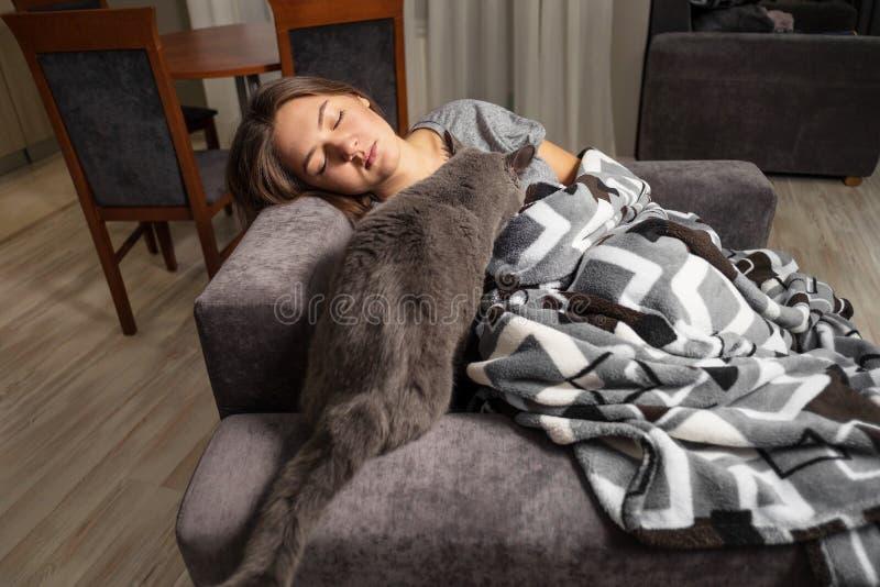 年轻女人睡觉与她的猫的,英国狭窄小道女孩,当她睡觉时,在盖子下的猫爬行 免版税库存图片