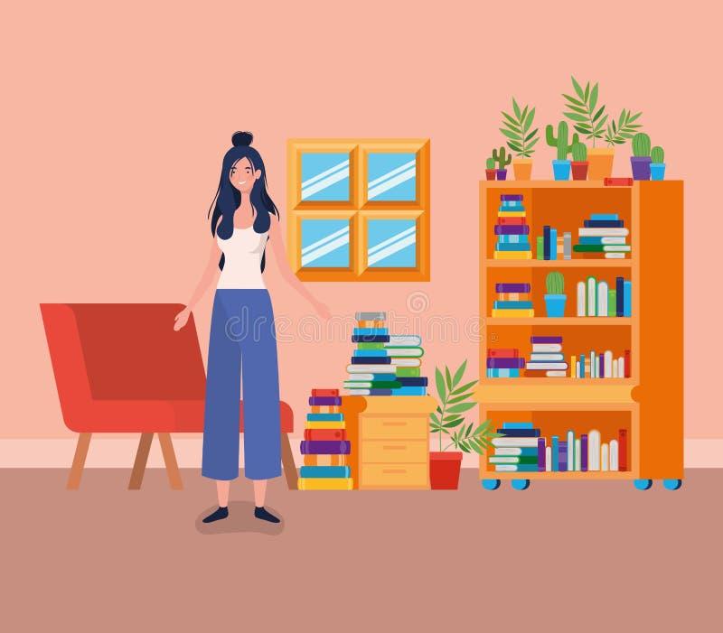 年轻女人身分在图书馆屋子 皇族释放例证
