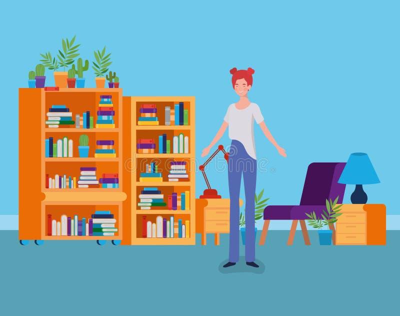 年轻女人身分在图书馆屋子 向量例证