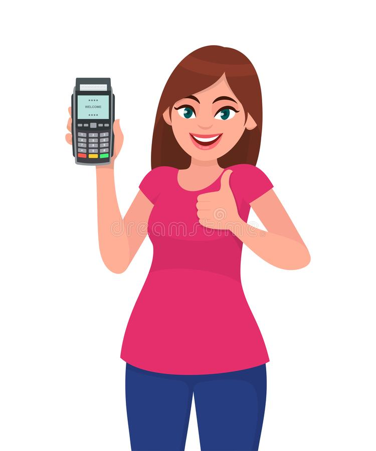 年轻女人陈列/藏品pos猛击机器的付款终端或信用/借记卡,打手势赞许标志 向量例证