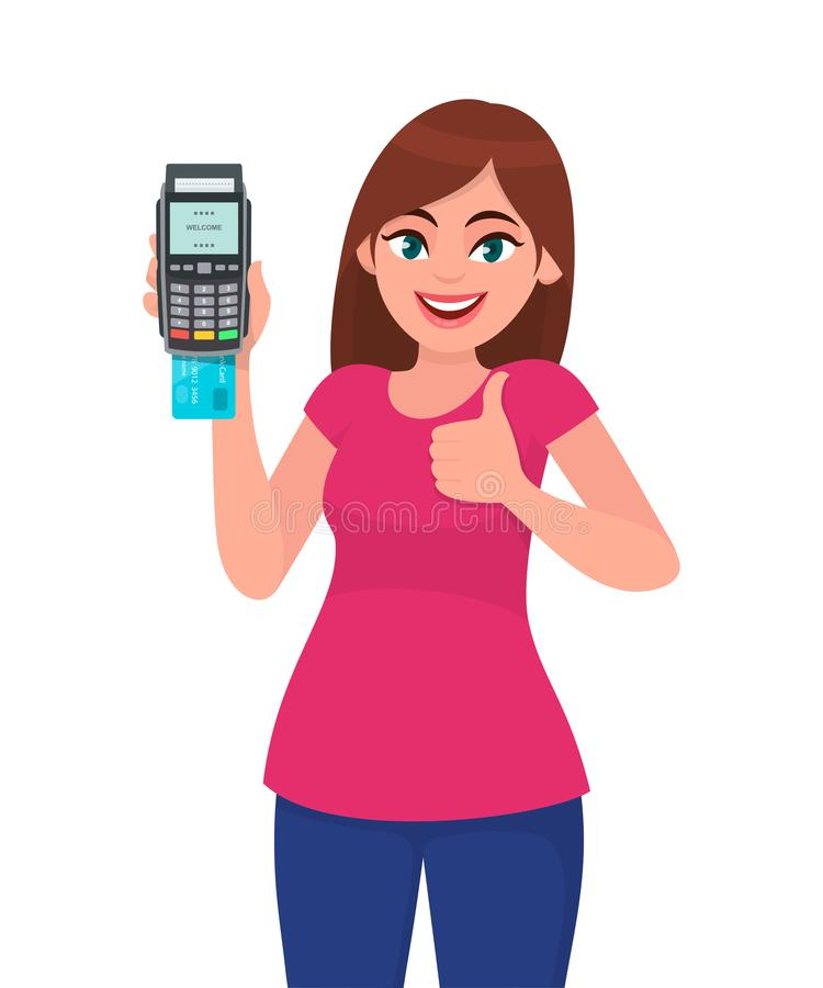 年轻女人陈列/藏品pos猛击机器的付款终端或信用/借记卡,打手势赞许标志 库存例证
