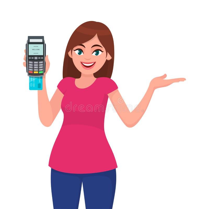 年轻女人/女孩陈列猛击机器和姿态手的pos终端或信用/借记卡复制空间边  向量例证