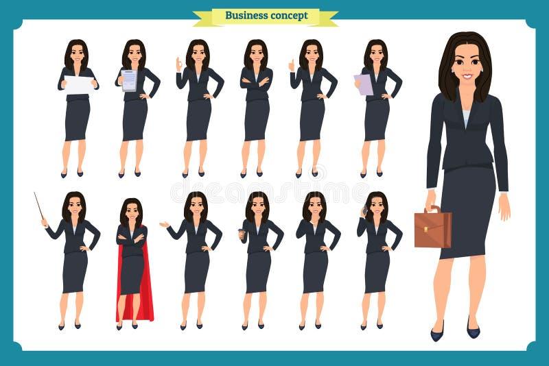 年轻女实业家提出用不同的姿势的套 人字符 突出 查出在白色 平的样式 事务 皇族释放例证