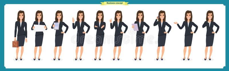 年轻女实业家提出用不同的姿势的套 人字符 突出 查出在白色 平的样式 事务 库存例证
