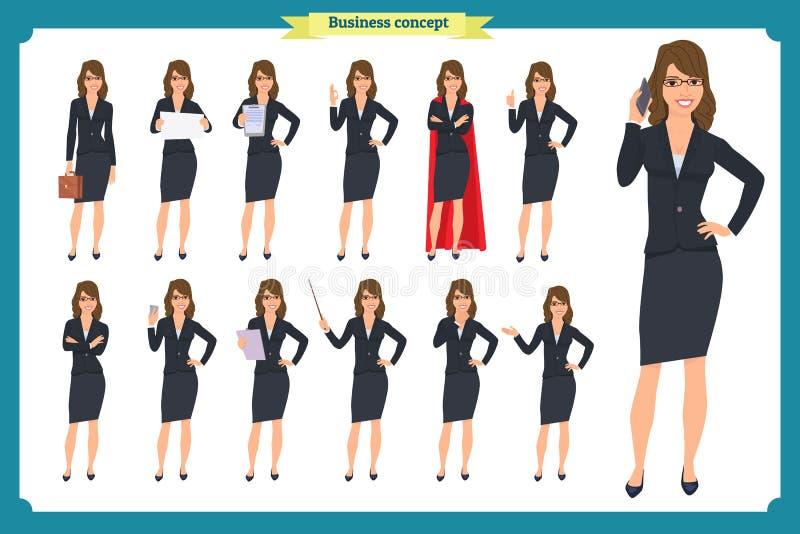 年轻女实业家提出用不同的姿势的套 人字符 突出 查出在白色 平的样式 事务 向量例证