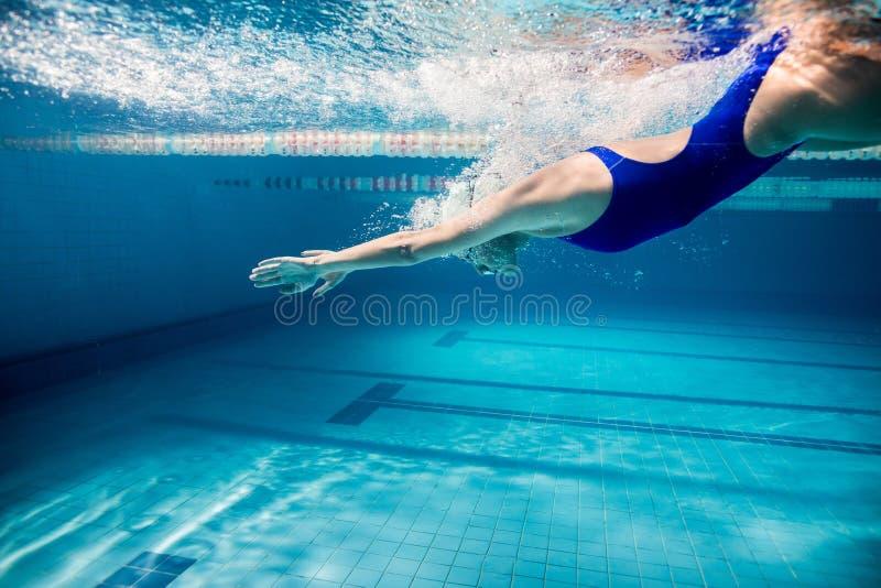 年轻女性游泳者行使的水下的图片 免版税库存照片