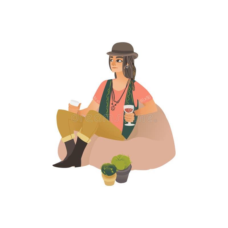 年轻嬉皮和行家妇女或者女孩帽子的坐袋子椅子 皇族释放例证