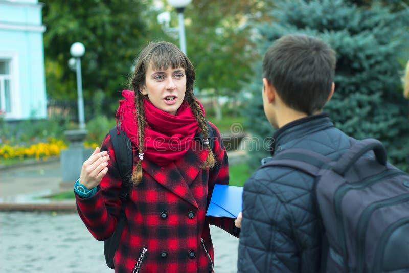 年轻学生朋友谈话在学院 库存图片