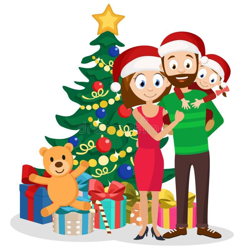 年轻家庭爸爸、妈妈和女儿在圣诞树附近与礼物 向量例证