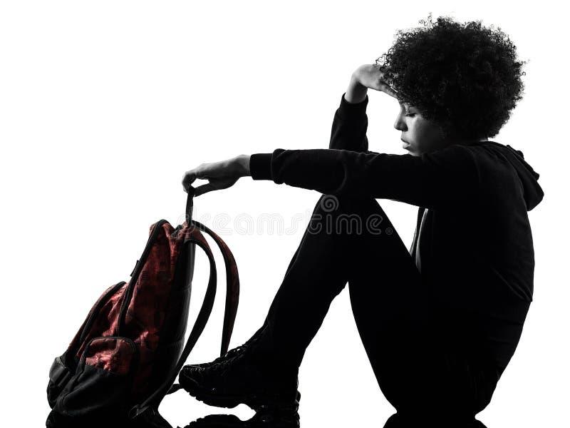 年轻少年女孩妇女悲伤消沉阴影剪影隔绝了 图库摄影