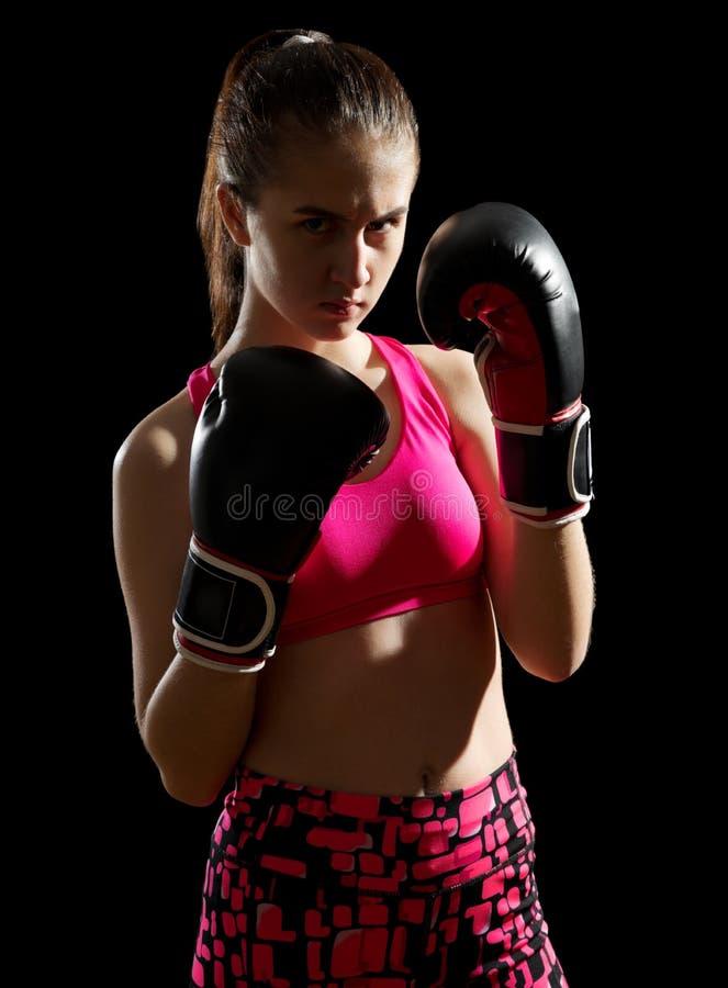 年轻少年女孩kickboxer 免版税库存照片
