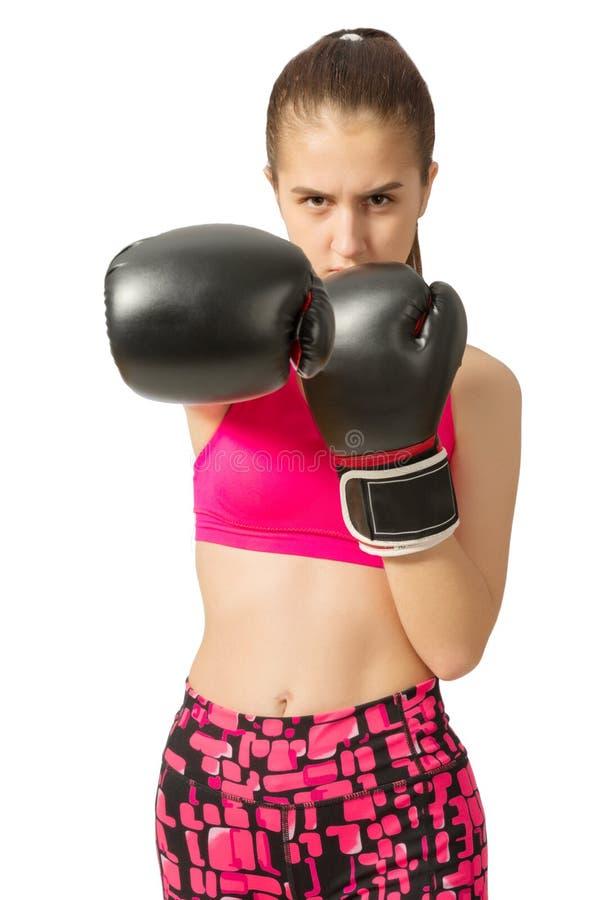 年轻少年女孩kickboxer 图库摄影