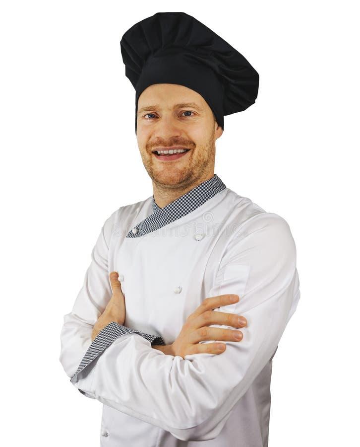 年轻微笑的厨师画象白色制服的 免版税库存照片