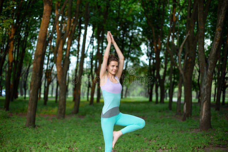 年轻微笑的可爱的信奉瑜伽者女子实践的瑜伽,站立在Vrksasana锻炼,树姿势 稀薄的深色的女孩演奏体育 免版税图库摄影