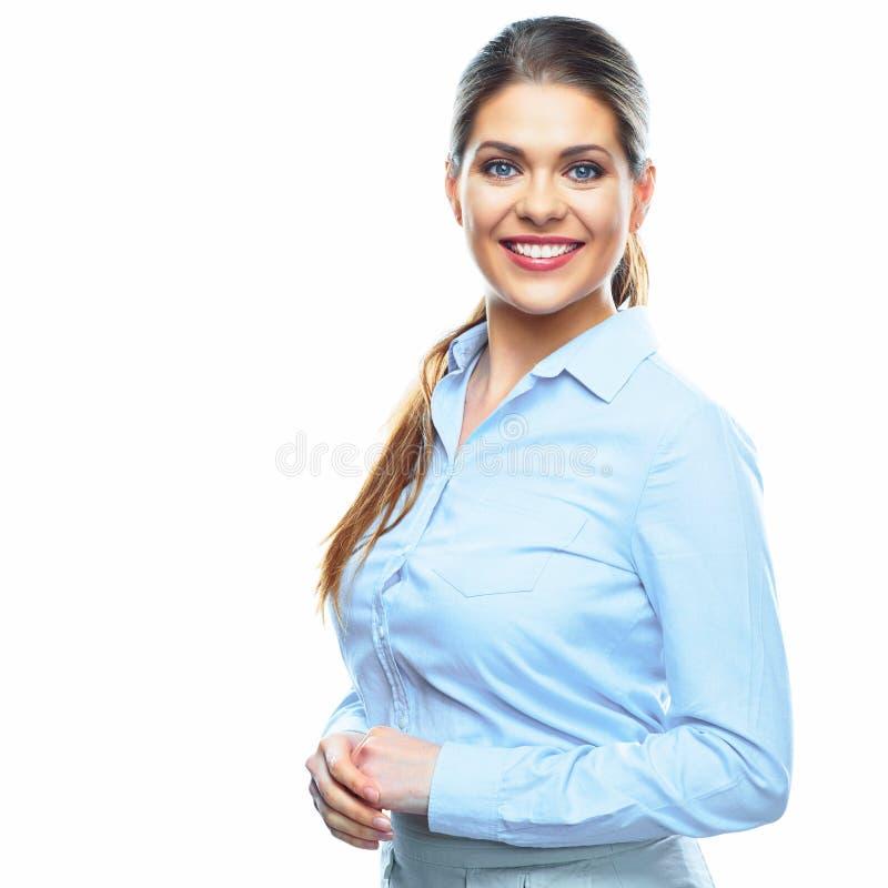 年轻微笑的女商人画象白色背景的 库存照片