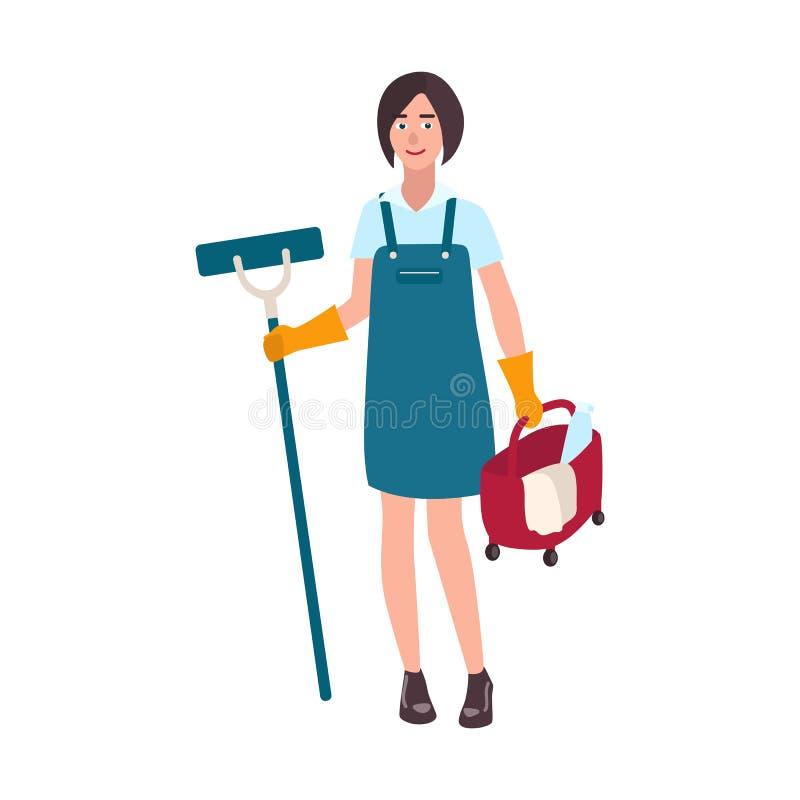 年轻微笑的妇女在一致的举行的地板拖把和桶穿戴了 女性清洁服务工作者,家庭擦净人或者 向量例证