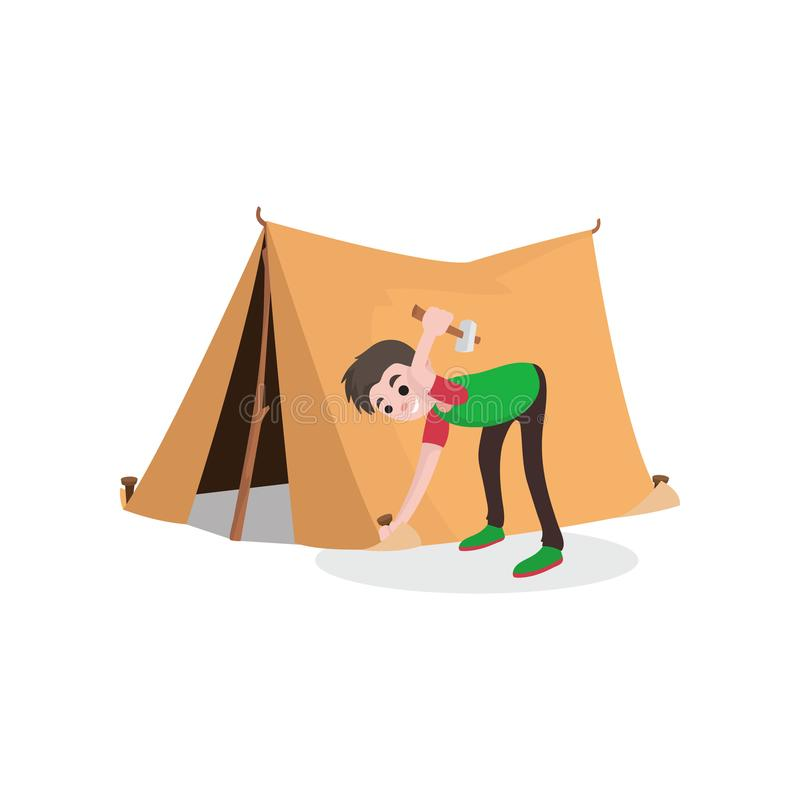 年轻微笑的少年男孩安装游人帐篷 夏天旅行,野营或远足概念 平的样式动画片 皇族释放例证