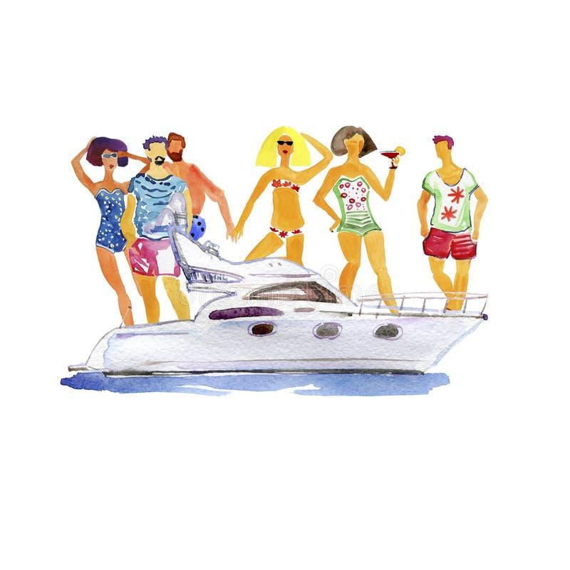 年轻快乐的人民获得乐趣在小船党-享受暑假的愉快的朋友 皇族释放例证