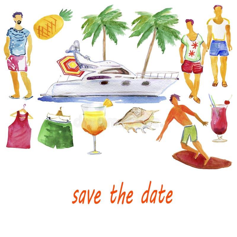 年轻快乐的人民获得乐趣在小船党-享受暑假的愉快的朋友 多孔黏土更正高绘画photoshop非常质量扫描水彩 向量例证