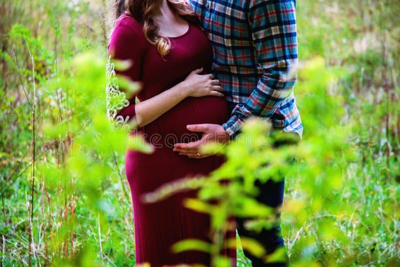 年轻怀孕夫妇秋季在户外 免版税图库摄影