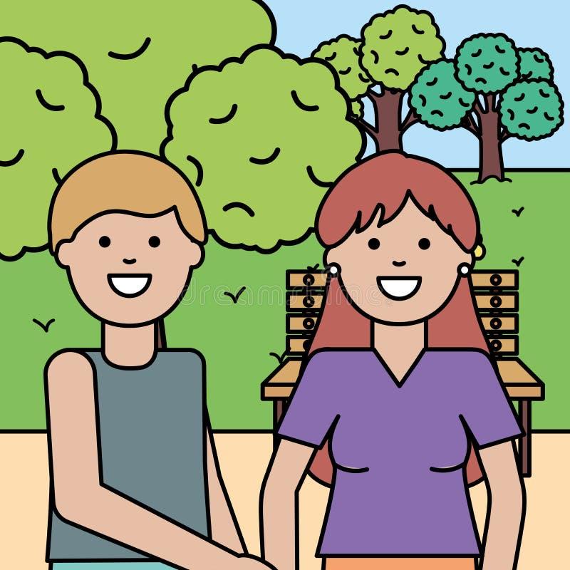 年轻恋人夫妇在公园 皇族释放例证