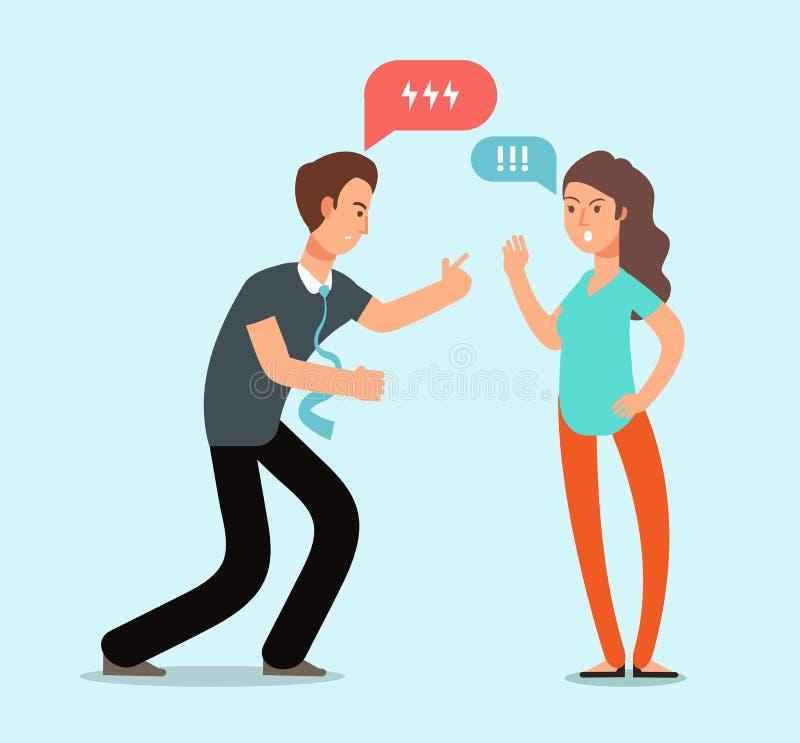 年轻恼怒的男人和妇女夫妇有争吵 不快乐的家庭冲突,在关系传染媒介概念的分歧 向量例证