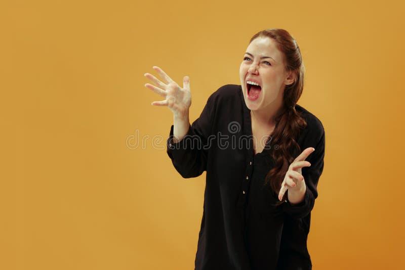年轻情感恼怒的妇女尖叫在金演播室背景 库存照片