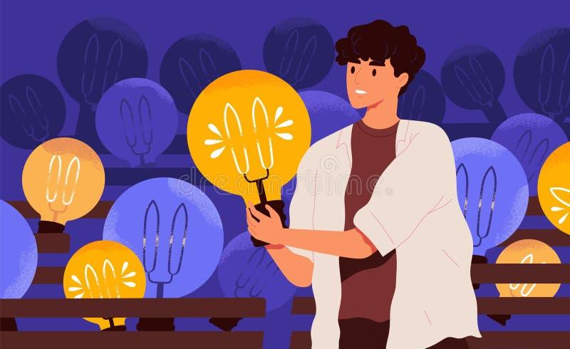 年轻愉快的人藏品电灯泡 有电灯泡的微笑的男孩 创新想法的一代的概念,创造性 库存例证