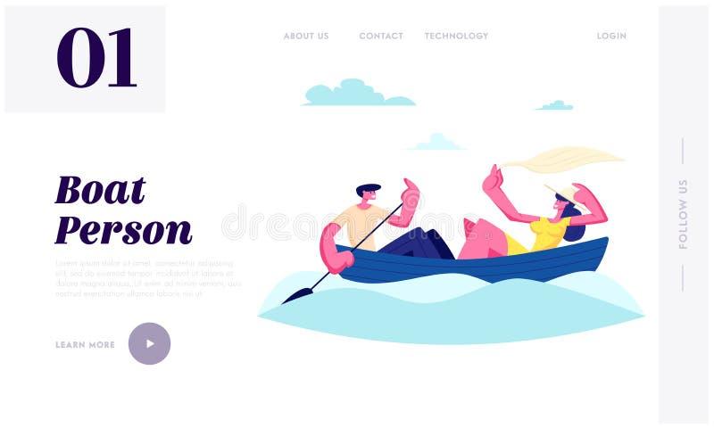 年轻愉快的夫妇浮动小船 荡桨与桨,女孩举行披肩的人水 夏令时假期,爱的人消遣时间 向量例证