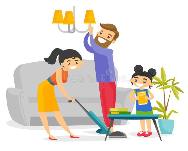 年轻愉快的白种人白色家庭清洁房子 向量例证