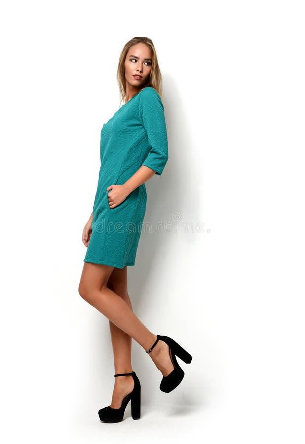 年轻愉快的美好的充分的摆在新的时尚绿色礼服布料的身体深色的妇女 免版税库存图片