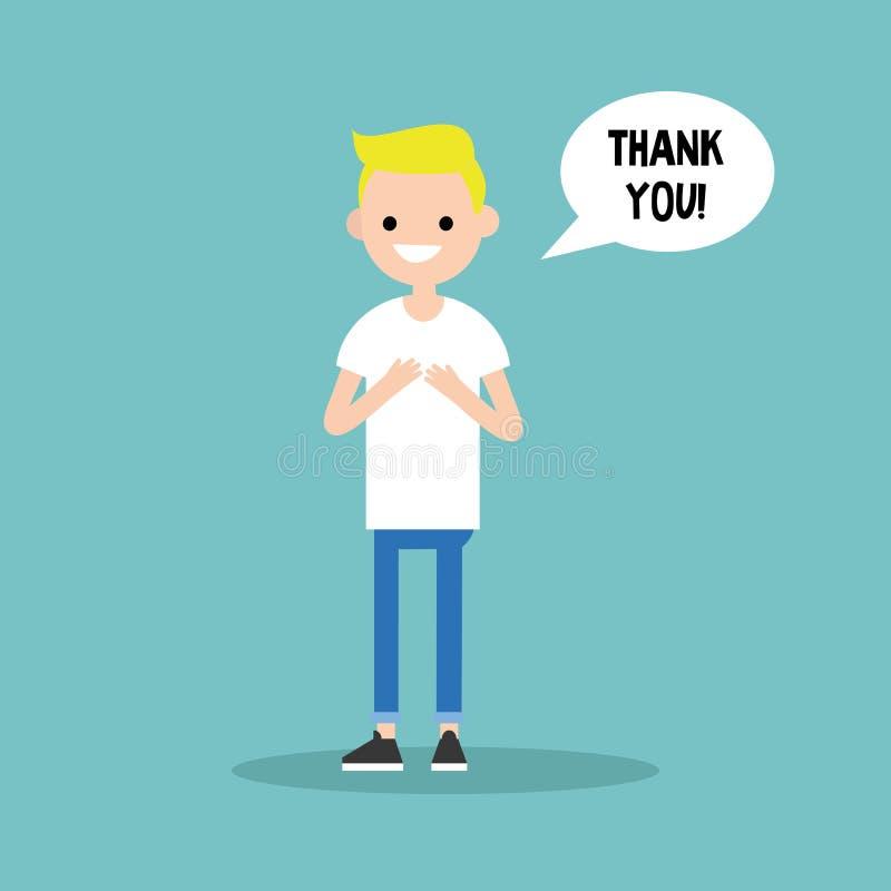 年轻感恩的白肤金发的男孩说感谢您 皇族释放例证