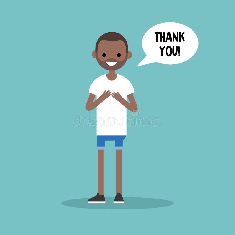 年轻感恩的黑人说感谢您 库存例证