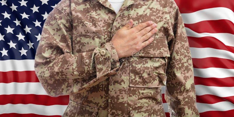 年轻战士用在心脏身分的手在美国旗子背景 3d例证 皇族释放例证
