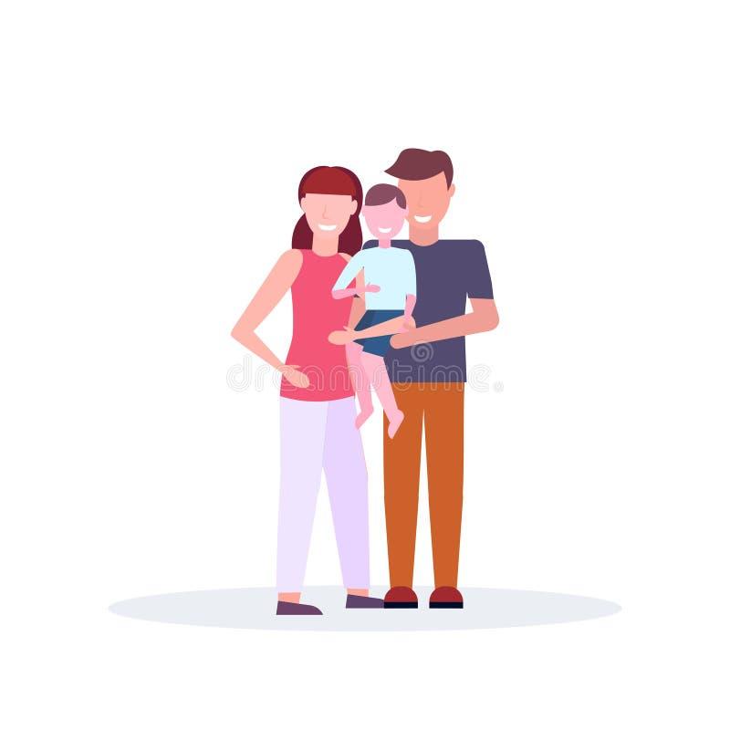年轻抱一点儿子母亲父亲和孩子的家庭慈爱的父母一起站立全长的卡通人物 库存例证