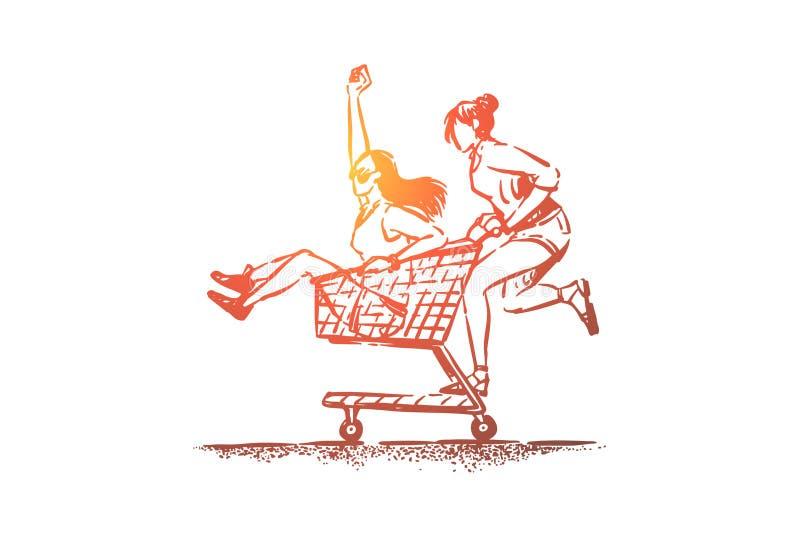 年轻无忧无虑的女朋友获得乐趣,愉快的朋友在夏天衣裳在商店推车,台车,女性友谊乘坐 皇族释放例证