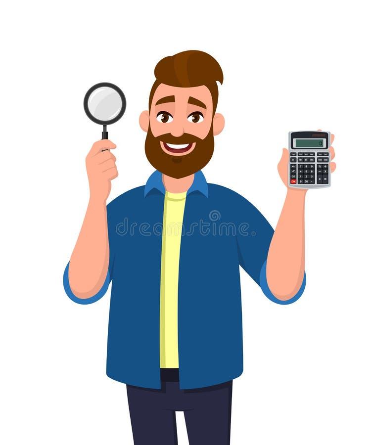 年轻有胡子的人陈列或在手中拿着数字计算器设备和放大镜放大器 r 向量例证