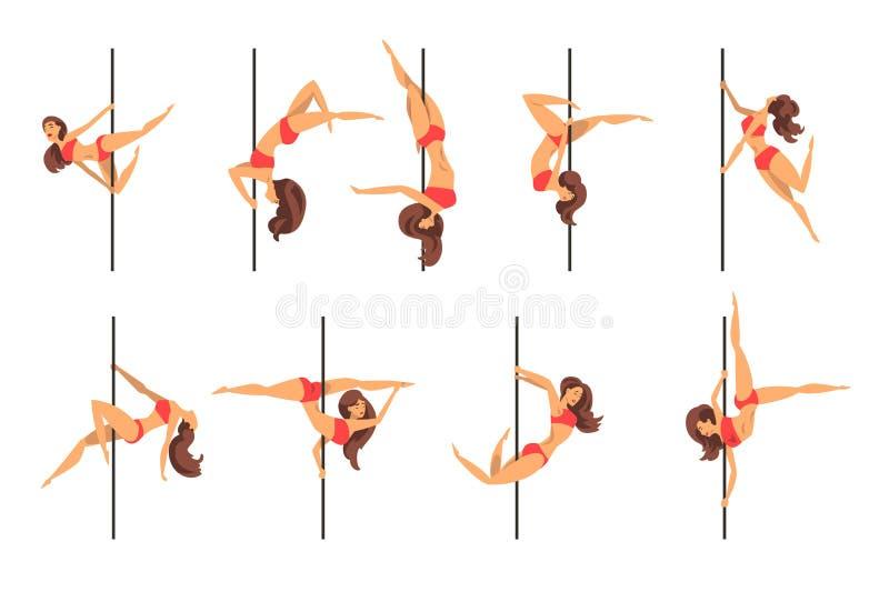 年轻杆舞蹈妇女设置了,显示一些把戏在白色背景的美丽的杆舞蹈家传染媒介例证 库存例证