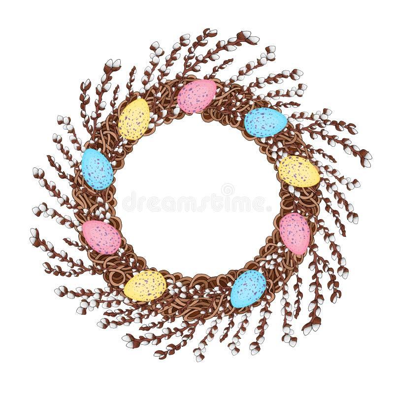 年轻杨柳分支花圈,装饰用五颜六色的复活节彩蛋 向量例证