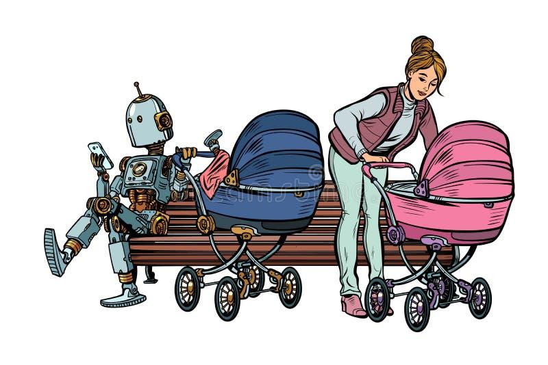 年轻母亲和机器人有婴儿车的,公园长椅 库存例证