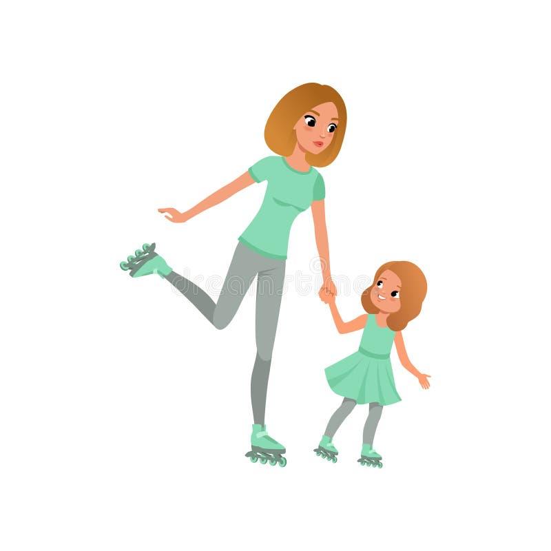 年轻滑冰在路辗的母亲和她的小女儿 循环户外系列愉快的孩子的自行车做父母体育运动二 有效的生活方式 获得的妈妈和的孩子乐趣 皇族释放例证